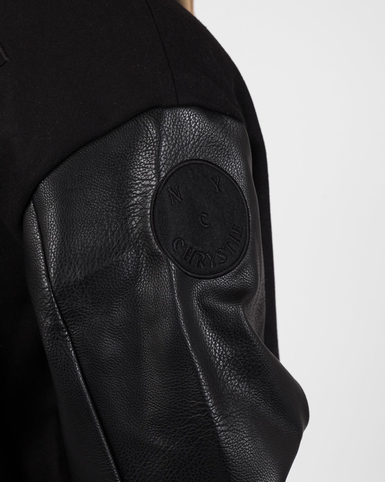 Chrystie NYC  Prm Varasity Leather/Wool Jacket Black