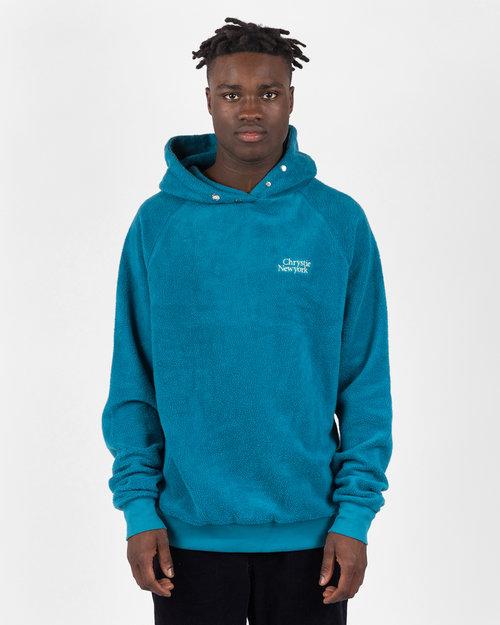 Chrystie Chrystie NYC Prm Reversed Fleece Classic Logo Hoodie Teal