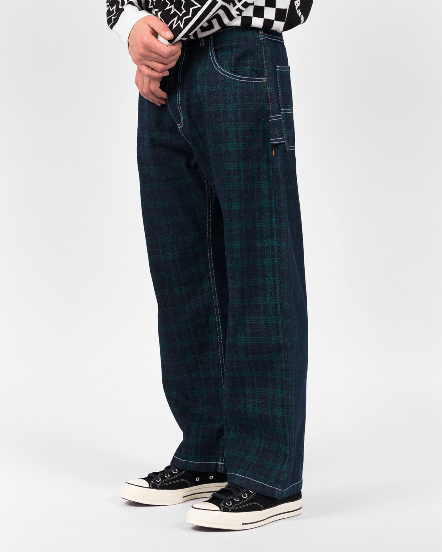 Paccbet Mens Jeans Green Checkered