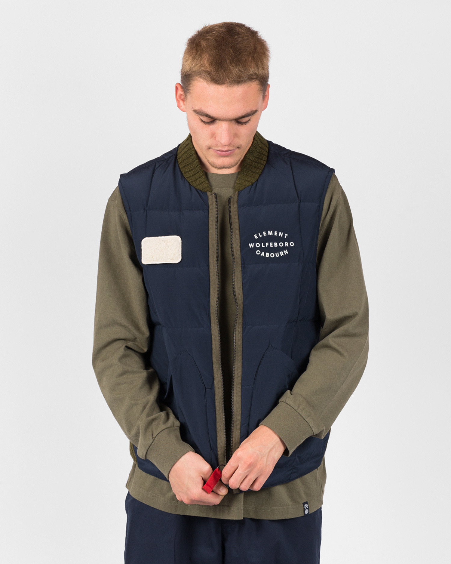 Element X Nigel Cabourn Fishing Down Vest Eclipse Navy