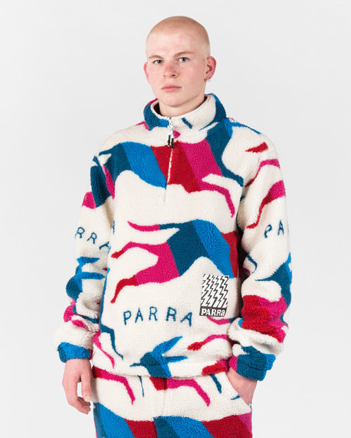 Parra Parra Jumping Foxes Sherpa Fleece Pullover Off White