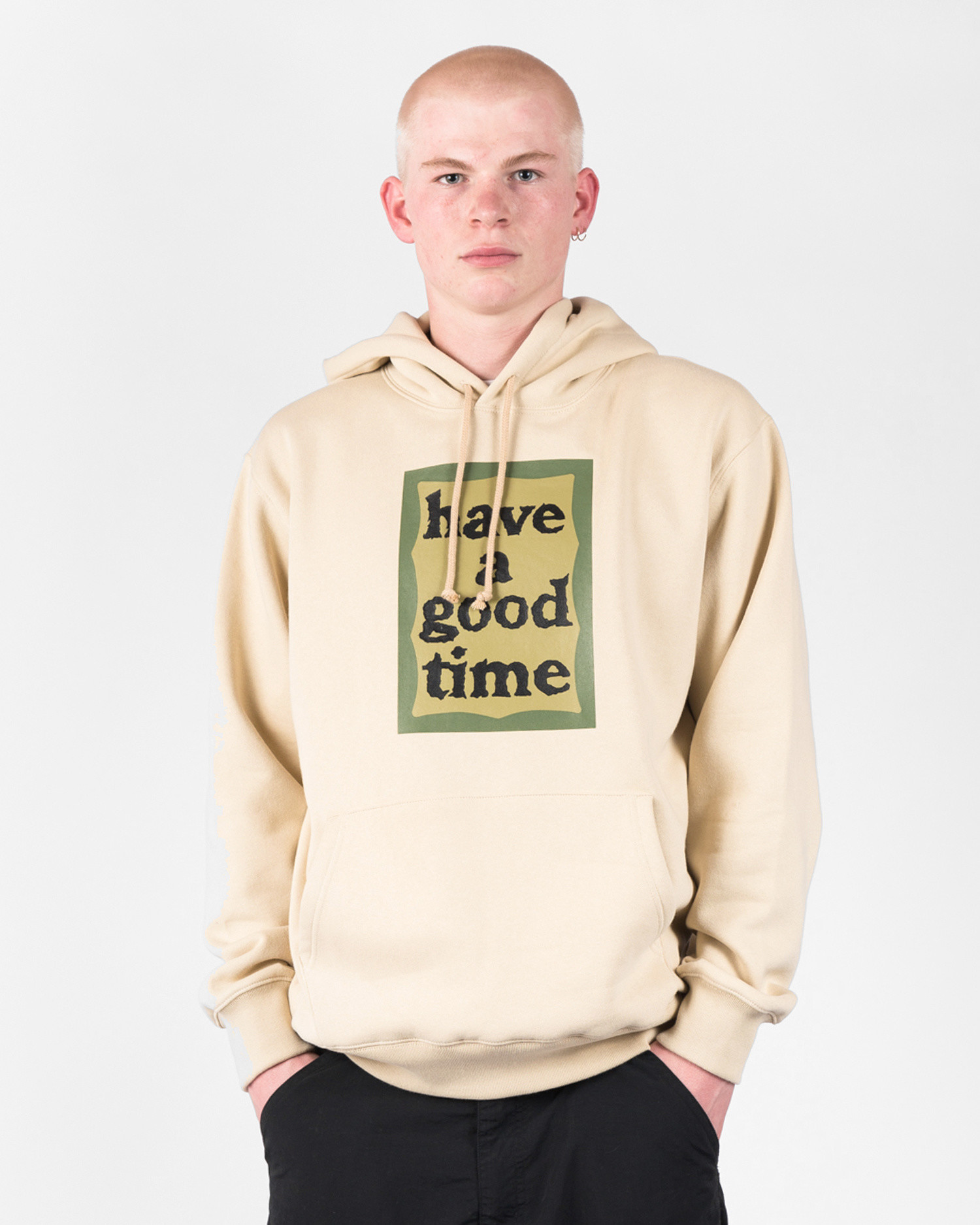 Have A Good Time Military Frame Hoodie Military Beige