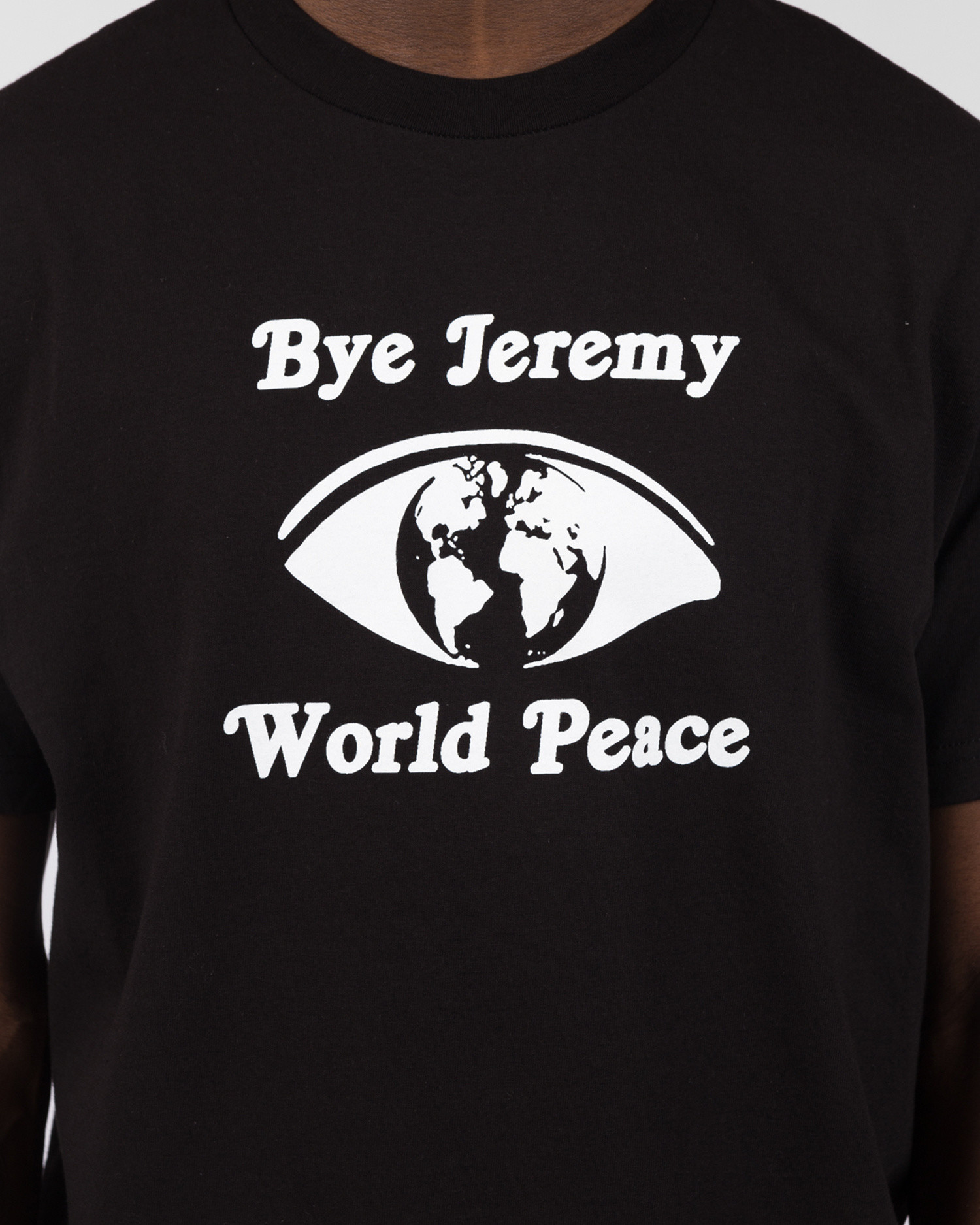 Bye Jeremy Black World Peace T-shirt