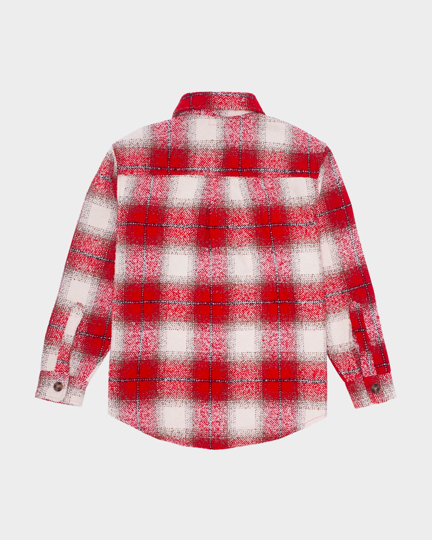 Fucking Awesome Heavy Flannel Over Shirt Red Cream Plaid