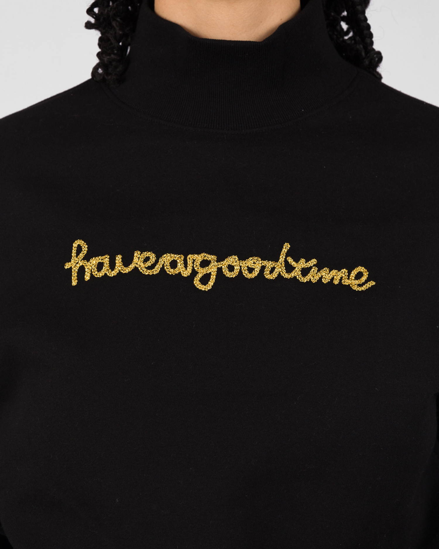 Have A Good Time Chain Stitch Mock Neck Sweatshirt Black