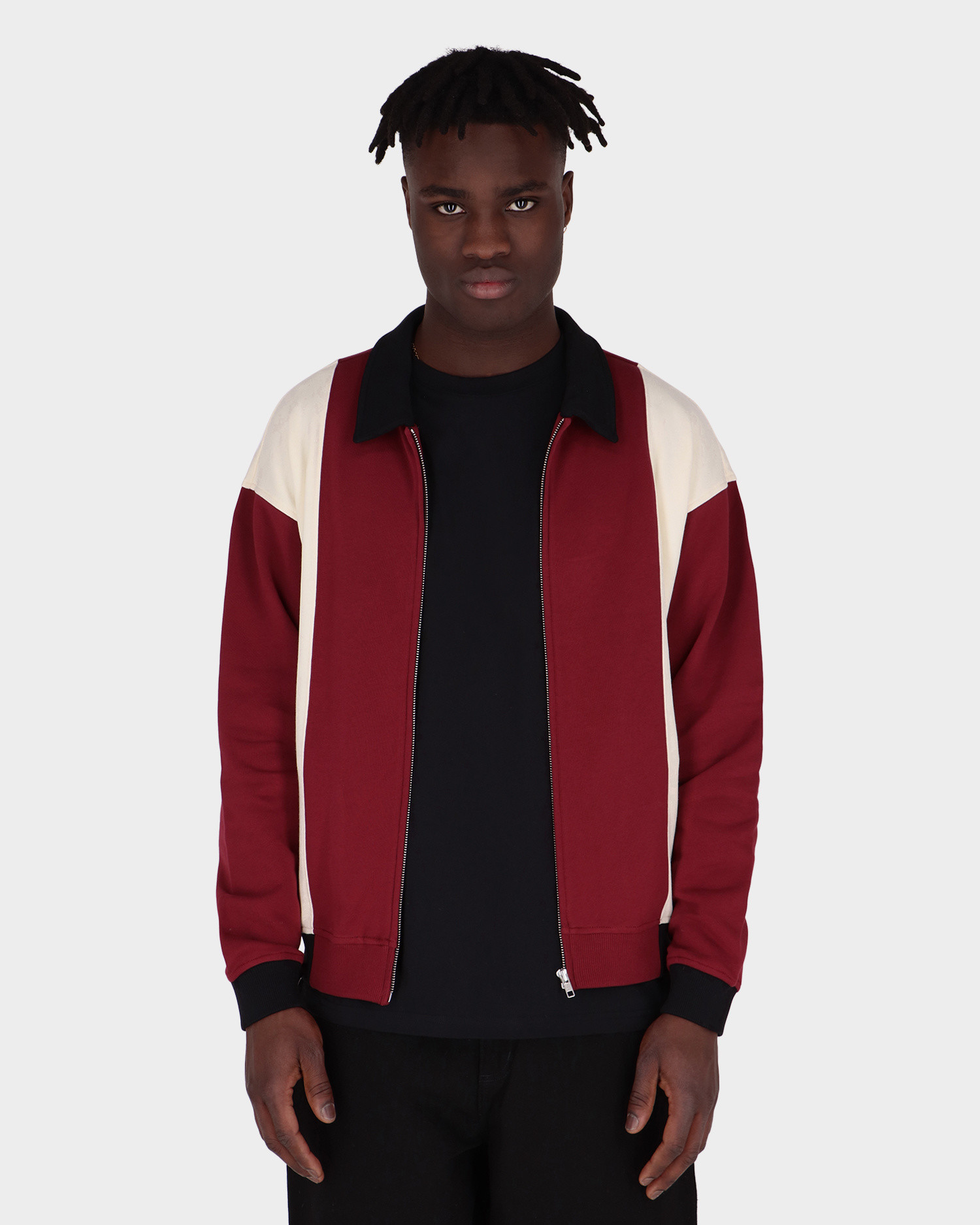 Futur Polo Zip-Up Top Dark Red