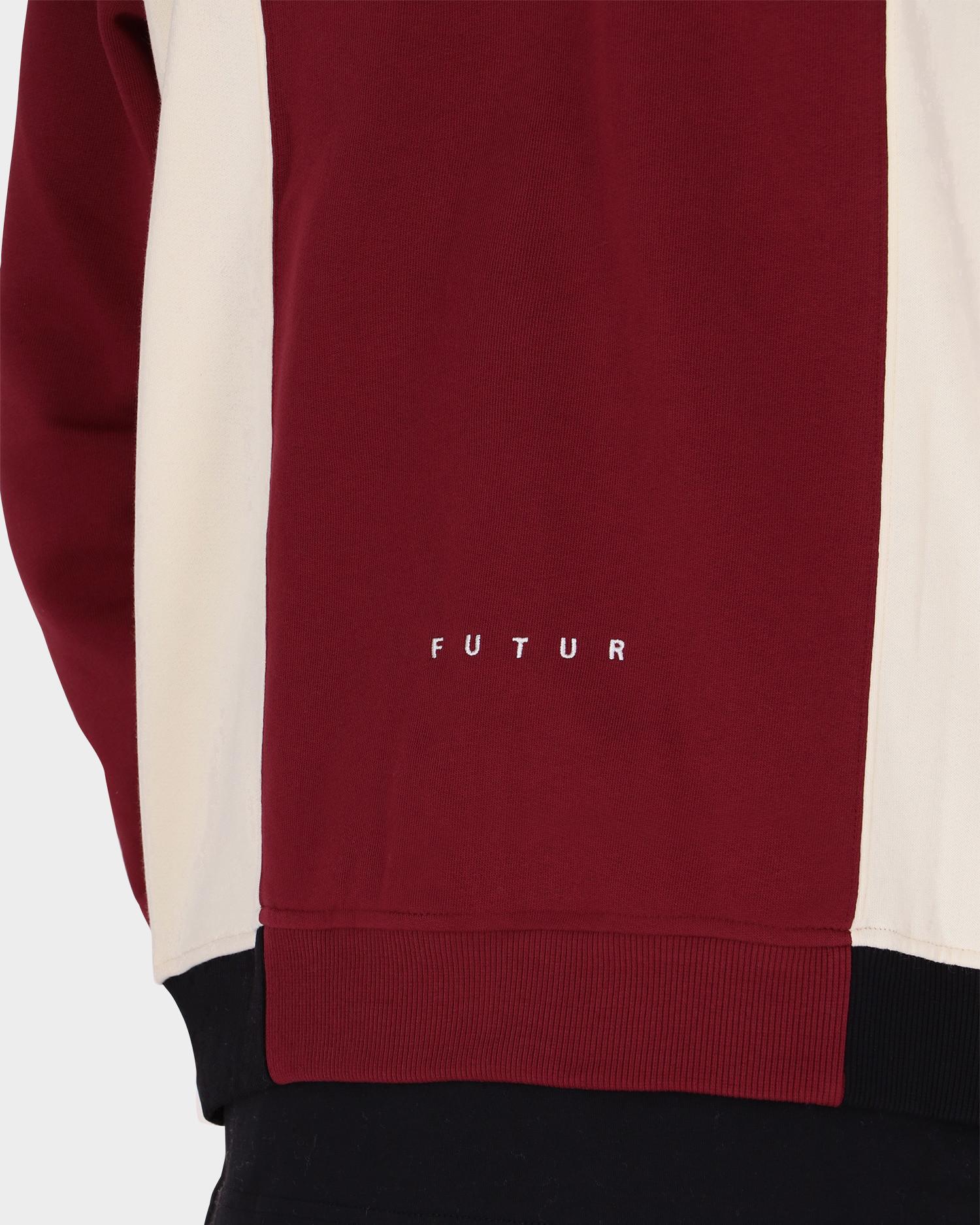 Futur Polo Zip-Up Top Dark Red