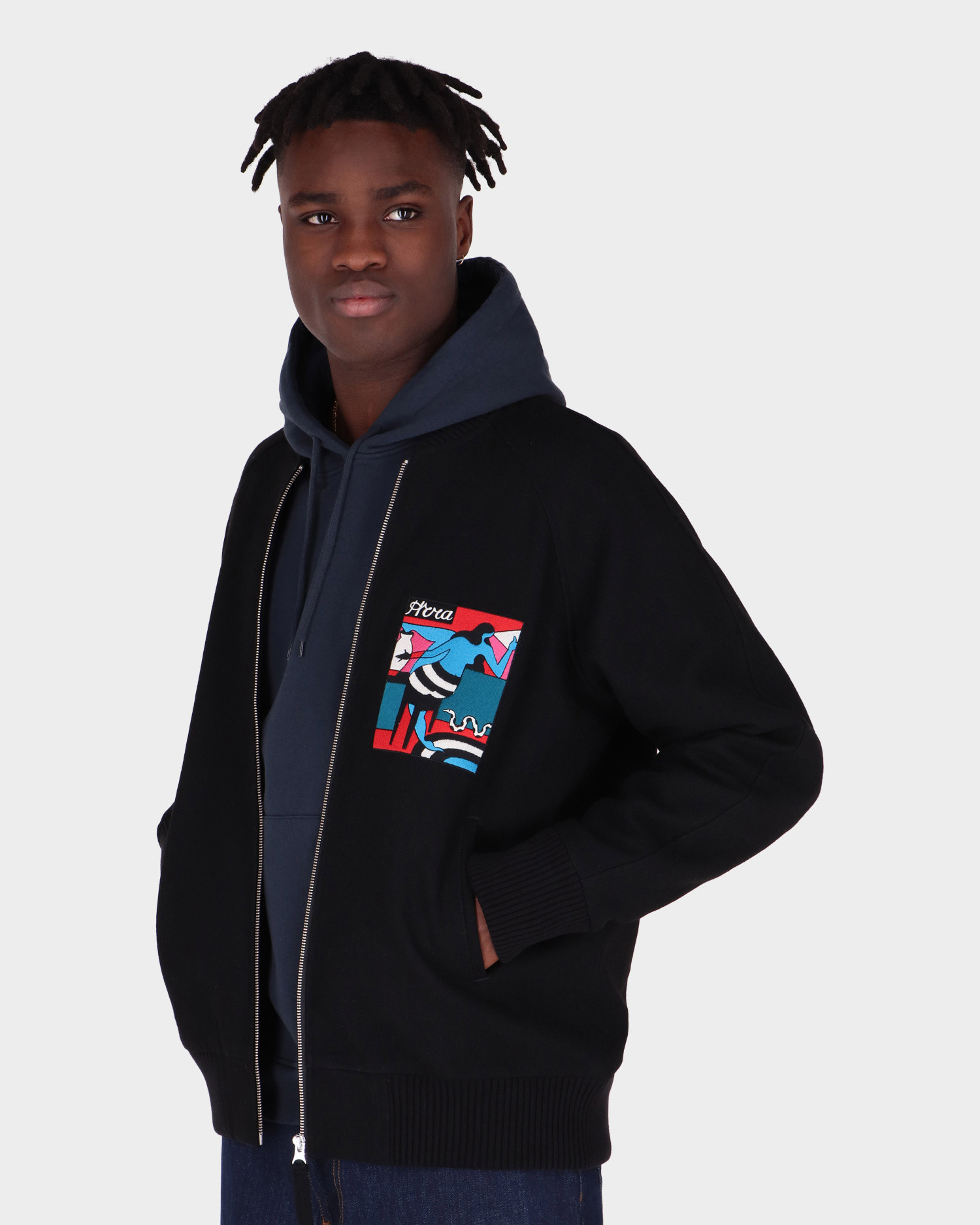 Parra Bar Messy Wool Jacket Dark Navy