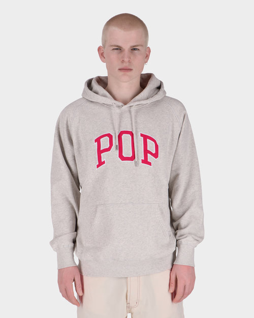 Pop Trading Co Pop Arch Hooded Sweat Offwhite Heather