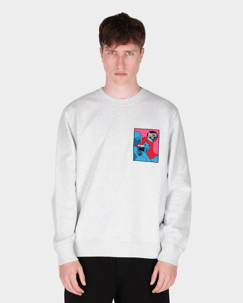 Parra Parra Neurotic Comic Crew Neck Sweatshirt  Ash Grey