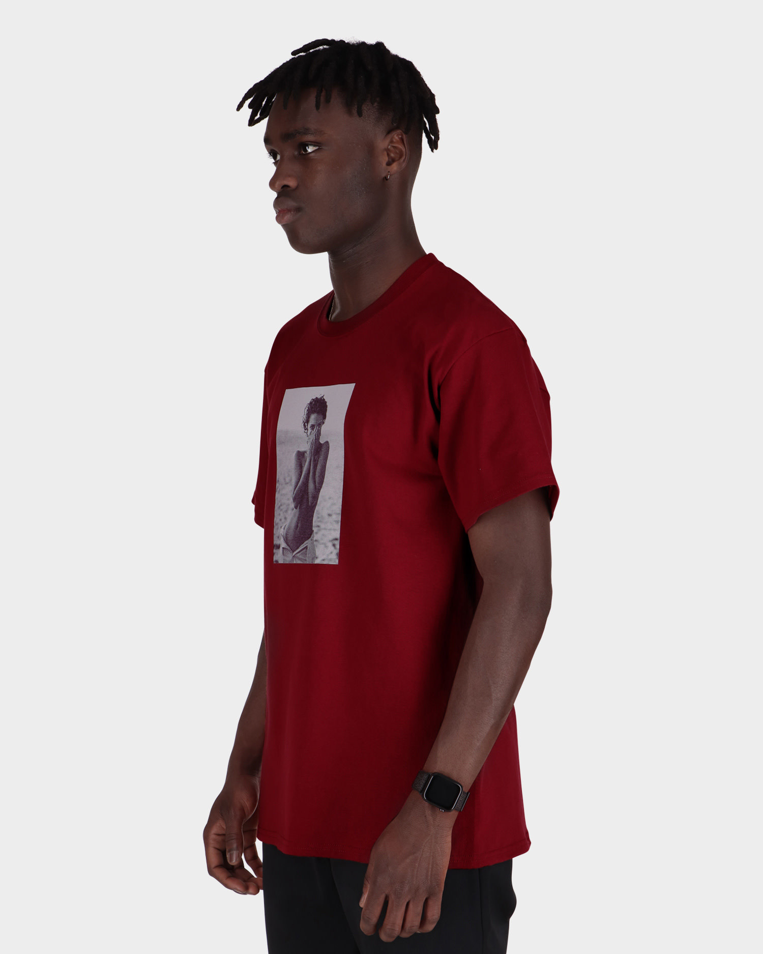 Chrystie NYC - Turlington Photo T-shirtmaroon maroon