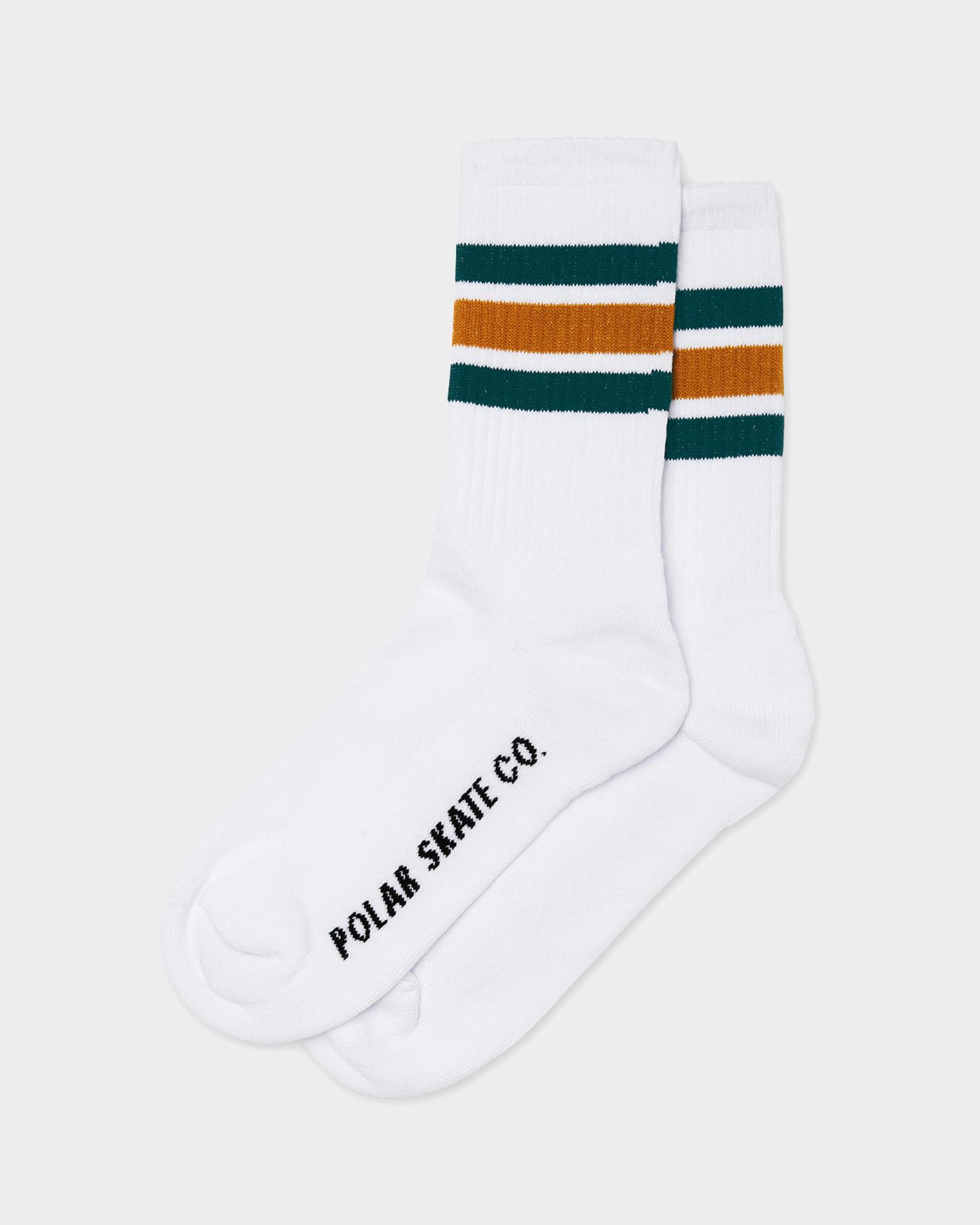 Polar Stripe Socks White/Teal/Orange