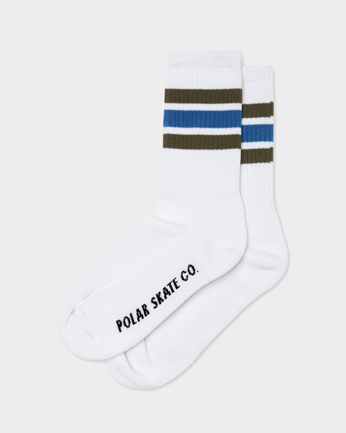 Polar Polar Stripe Socks White Army Blue