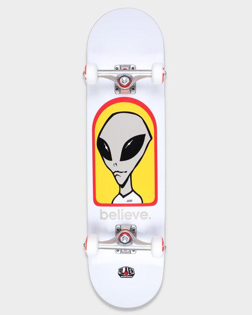 "Habitat Alien Workshop Complete  Believe White 8.0"""
