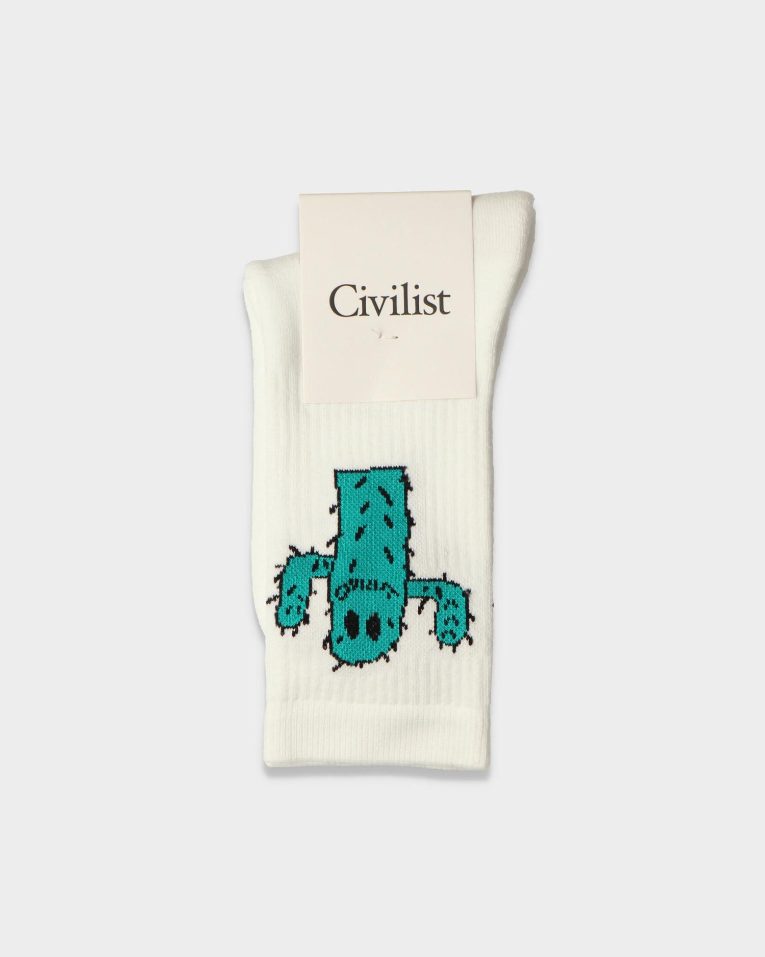 Civilist Cactus Smiler Socks White