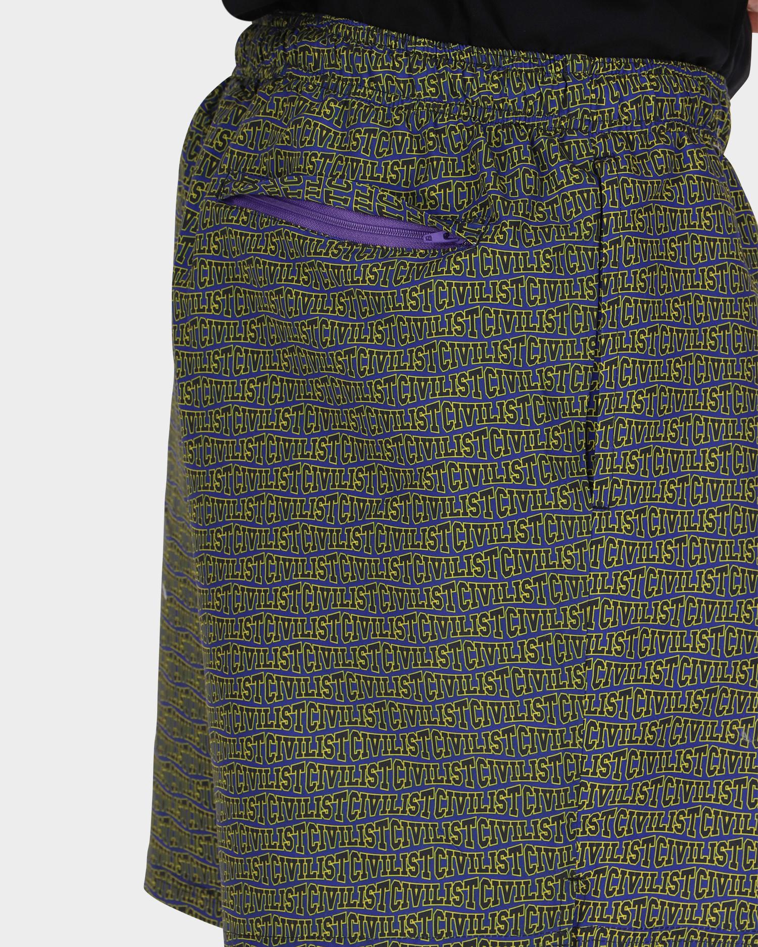 Civilist Allover Club Swim Shorts Purple/Yellow