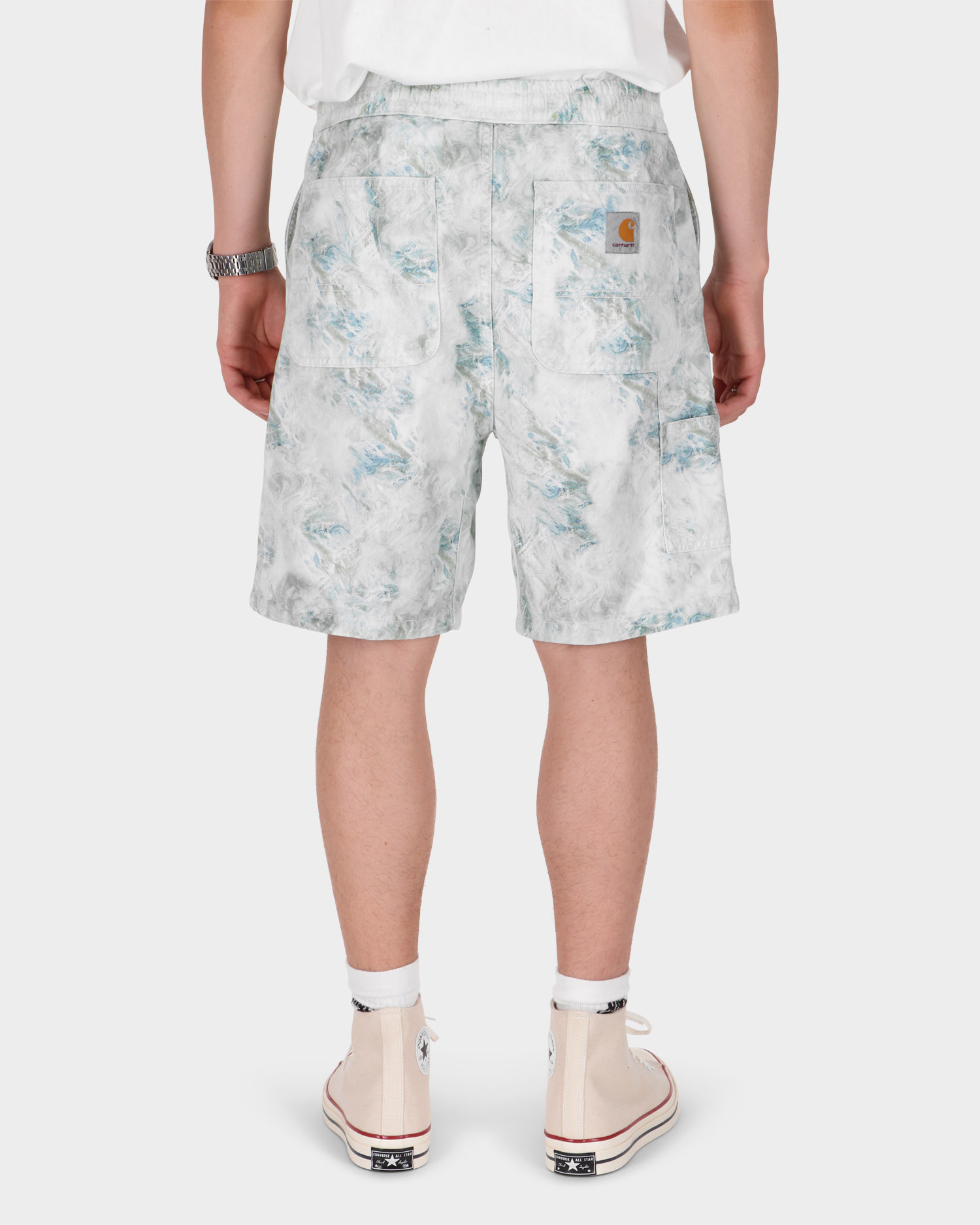 Carhartt Marble Shorts Marble Print Wave Stone Washed