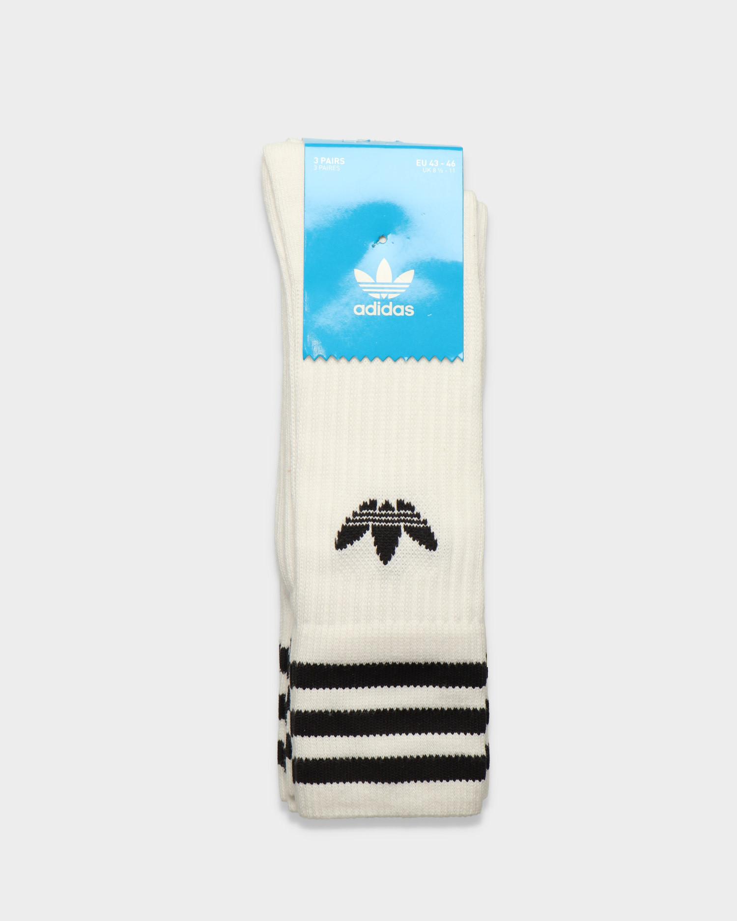 adidas 3-Pack Solid Crew Socks White/Black