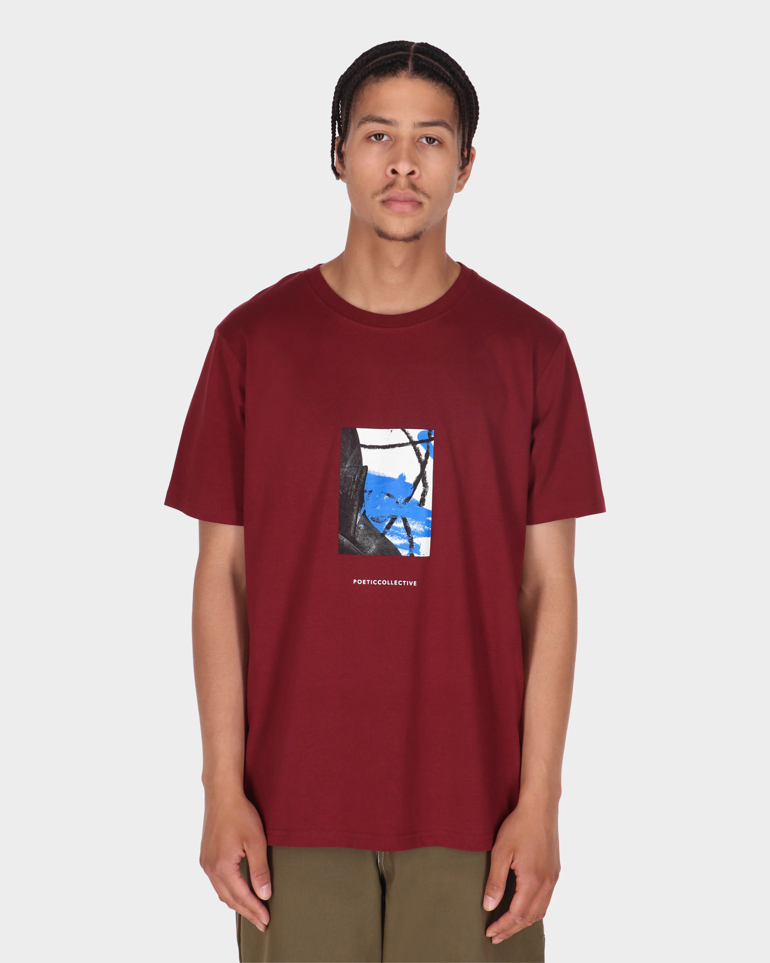 Poetic Collective Painting T-shirt Burgundy