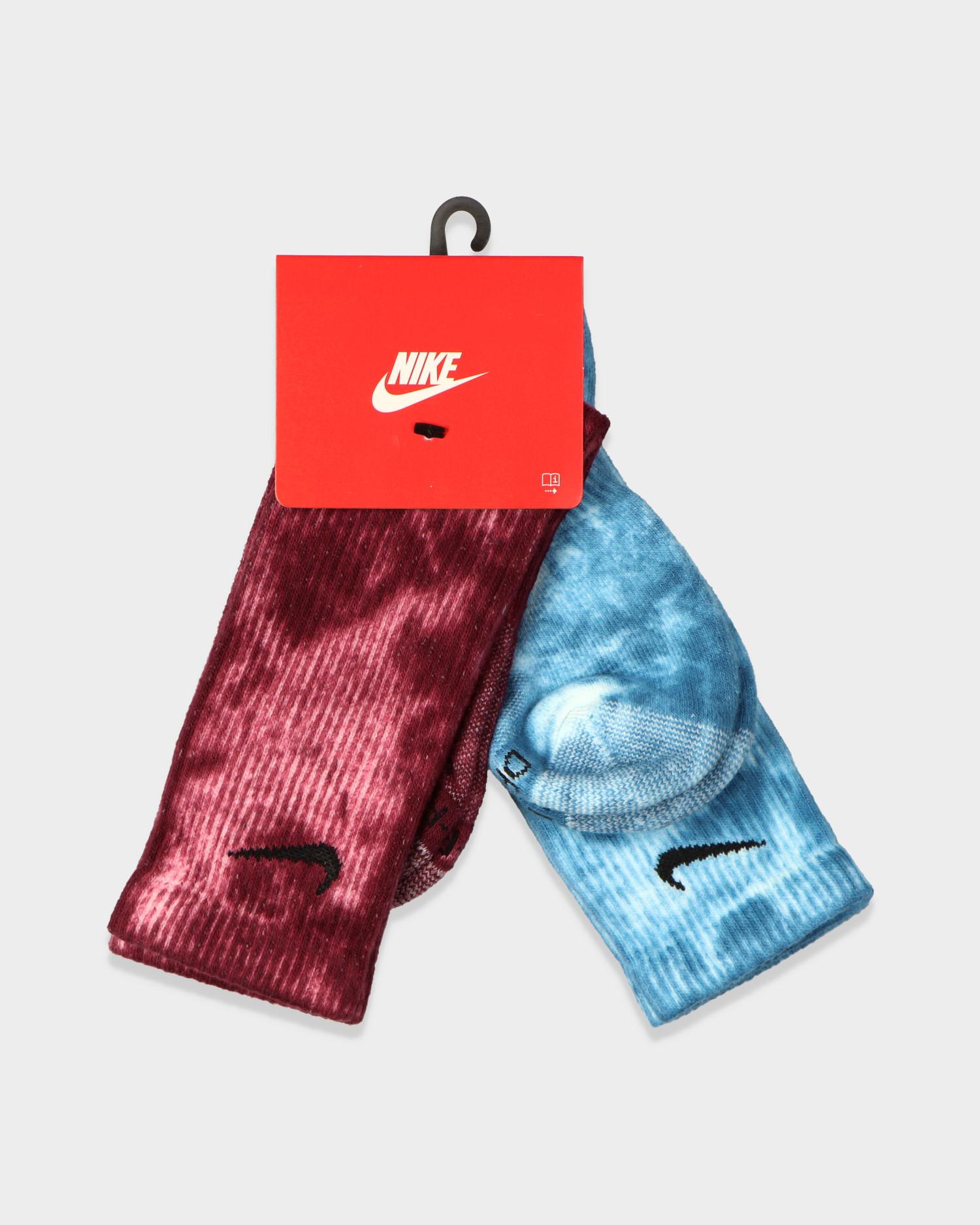 Nike Tie-Dye Everyday Plus Socks Blue/Burgundy