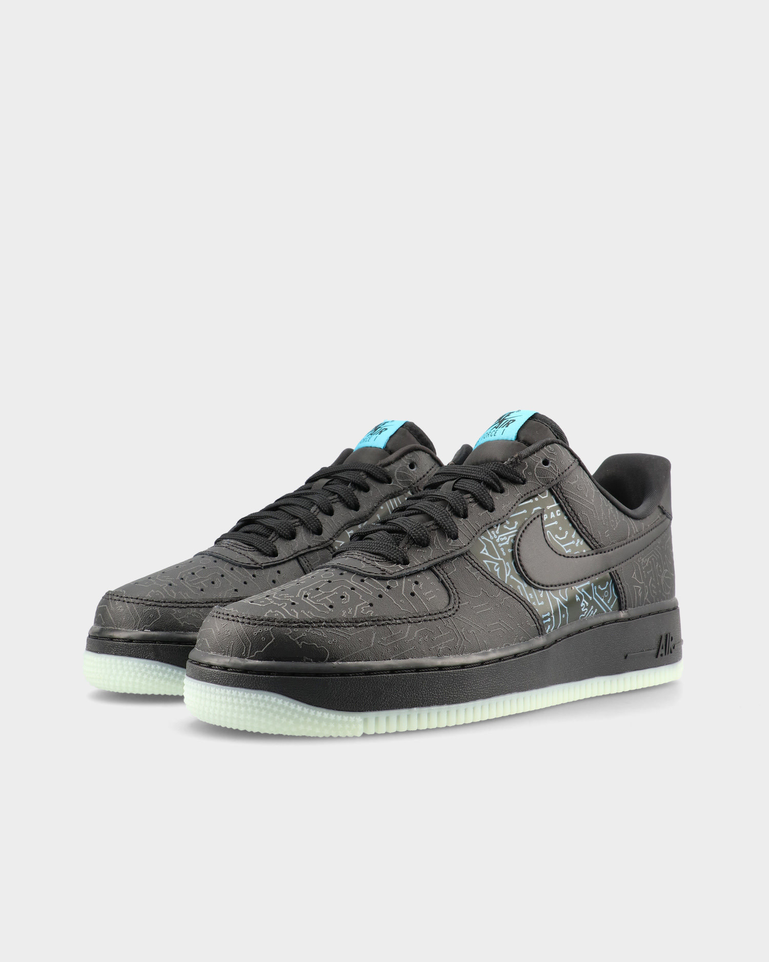 "Nike Air Force 1 '07 ""SPACE JAM"" Black/Black-Light Blue Fury"