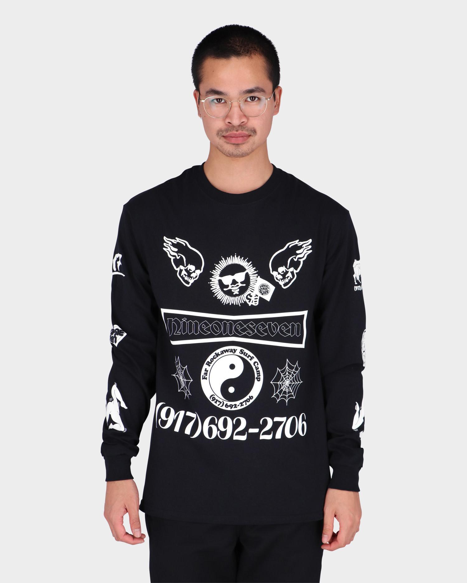 Call me 917 Collage Black Longsleeve T-Shirt Black