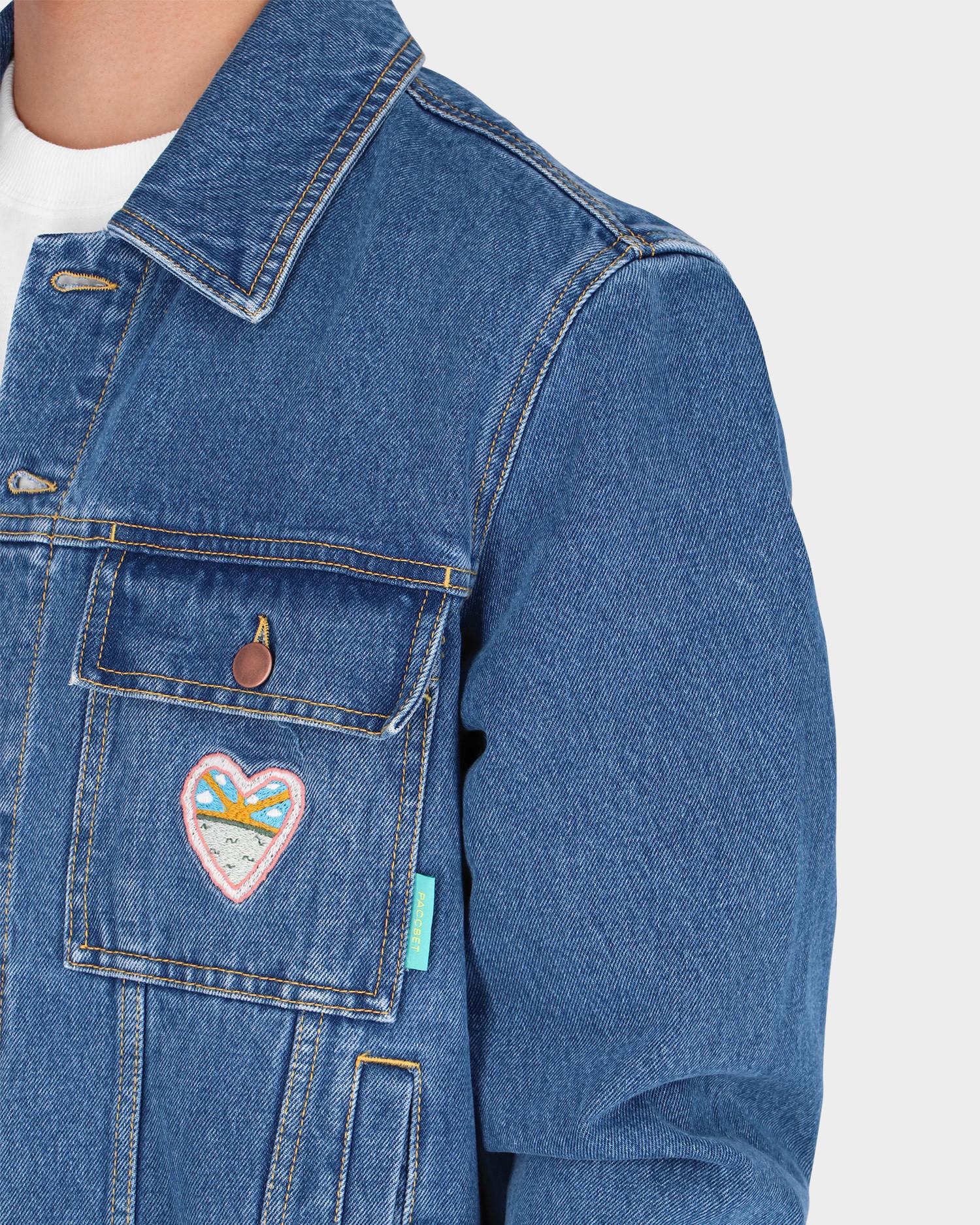 Paccbet Printed Denim Jacket Woven Light Blue