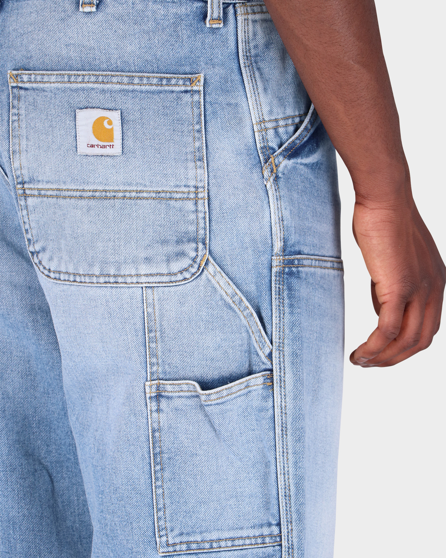 Carhartt Double Knee Pant 100% Organic Cotton Dusty Blue Light used wash