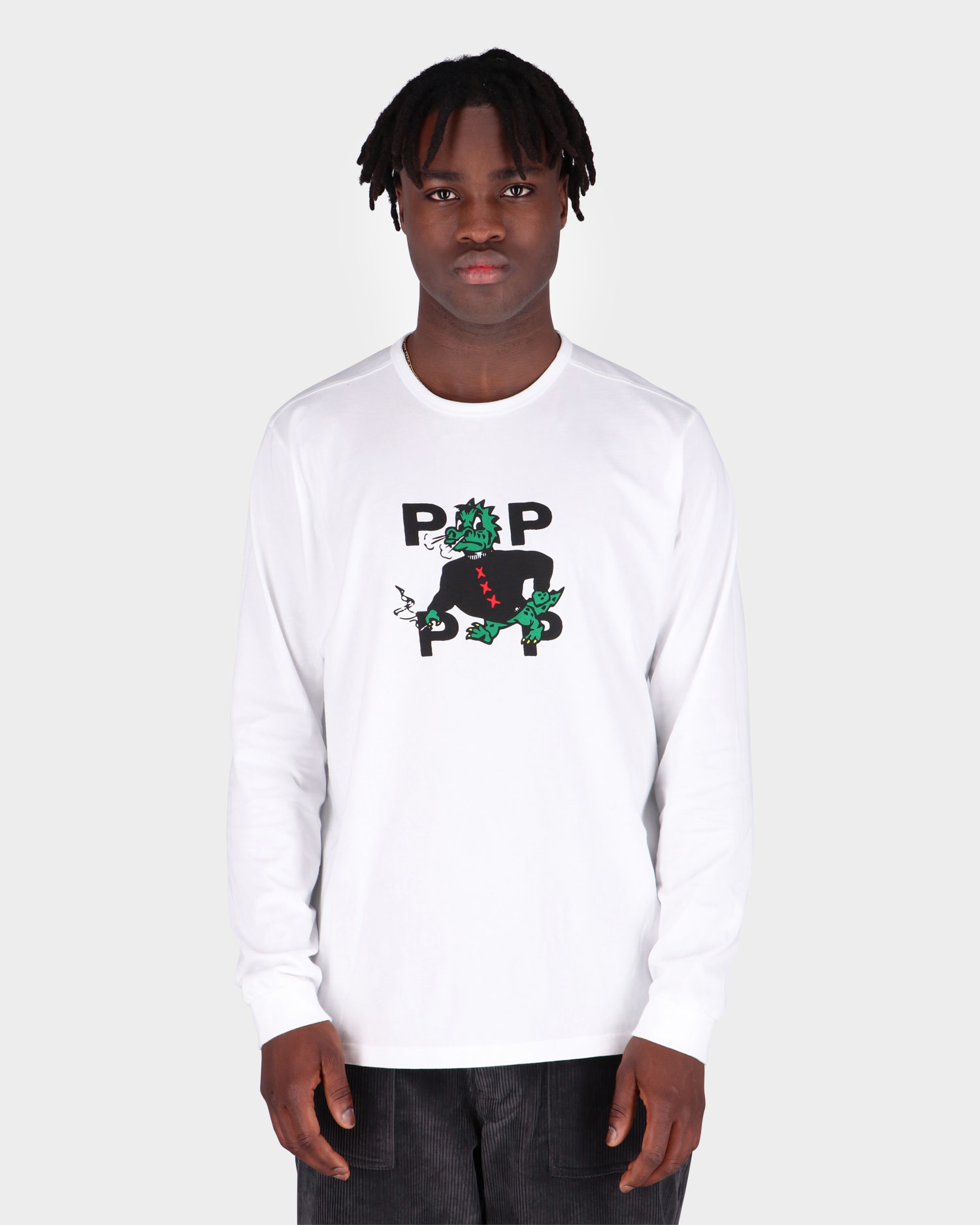Pop Trading Co Smoking Dragon Longsleeve T-shirt White