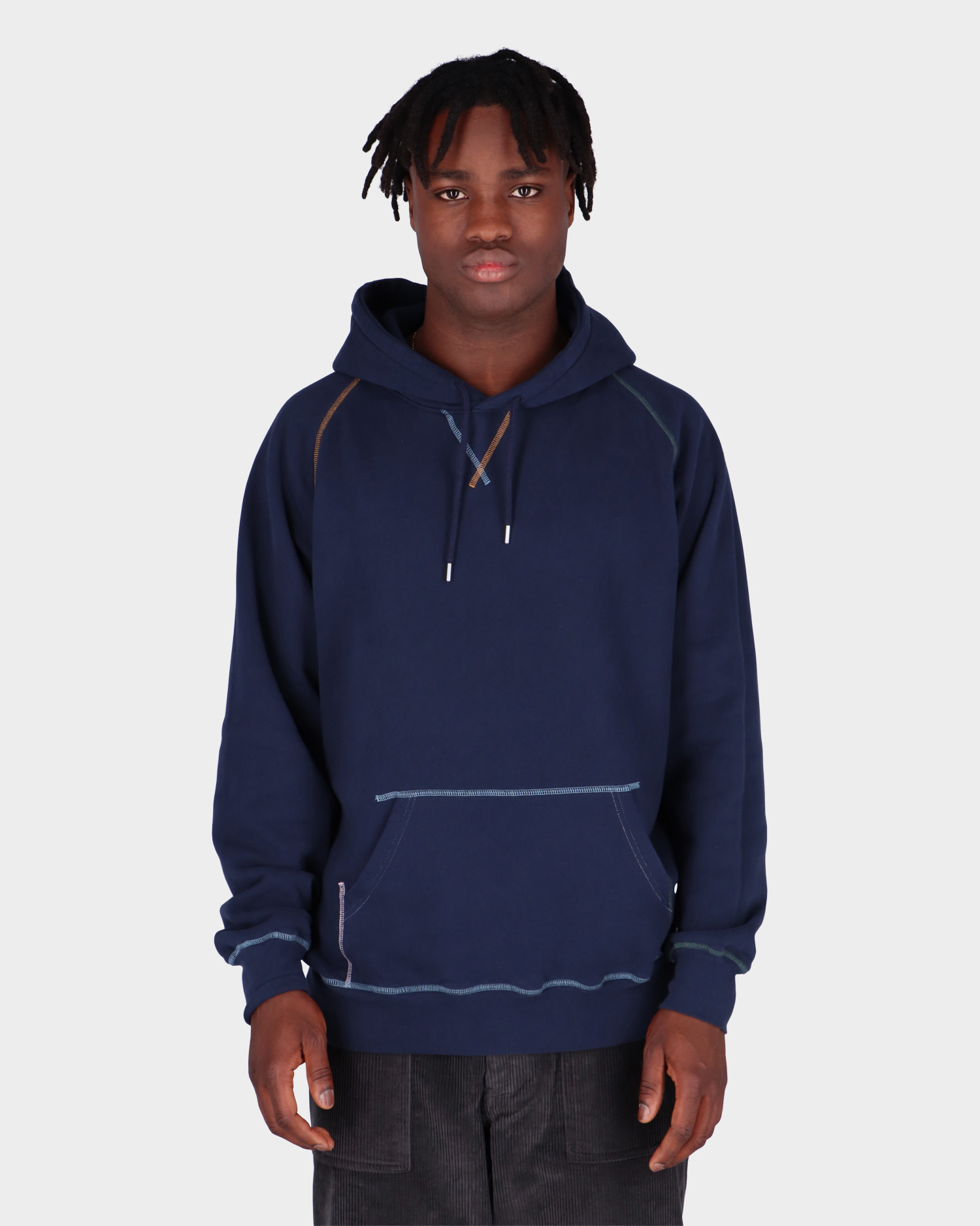 Pop Trading Co Logo Embroidered Hooded SweatNavy/Multi