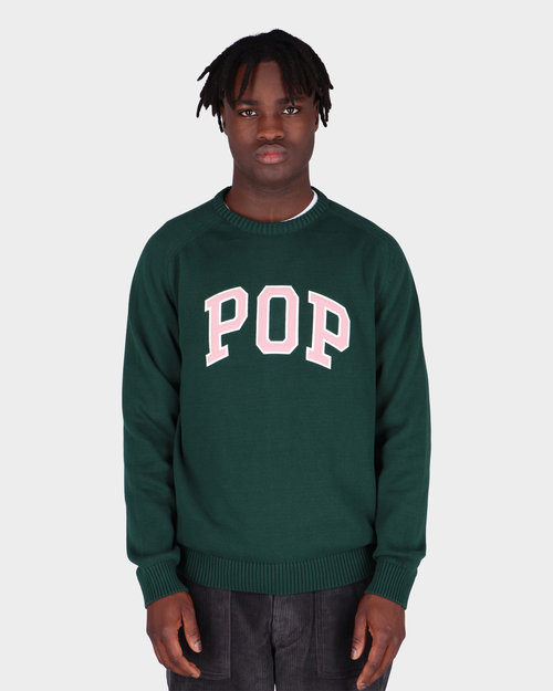 Pop Trading Co Pop Trading Co Arch Knitted Crewneck Bistro Green