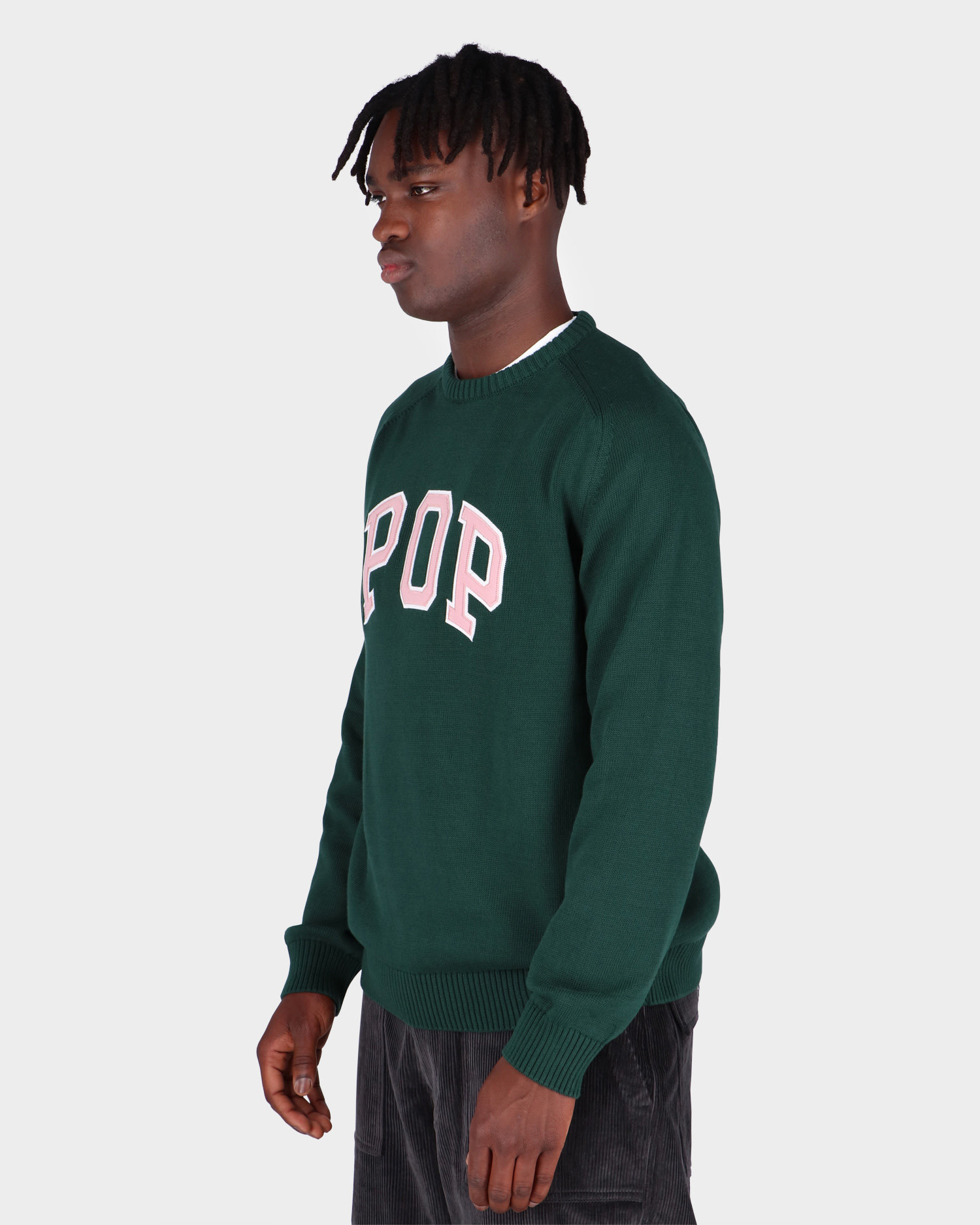 Pop Trading Co Arch Knitted Crewneck Bistro Green