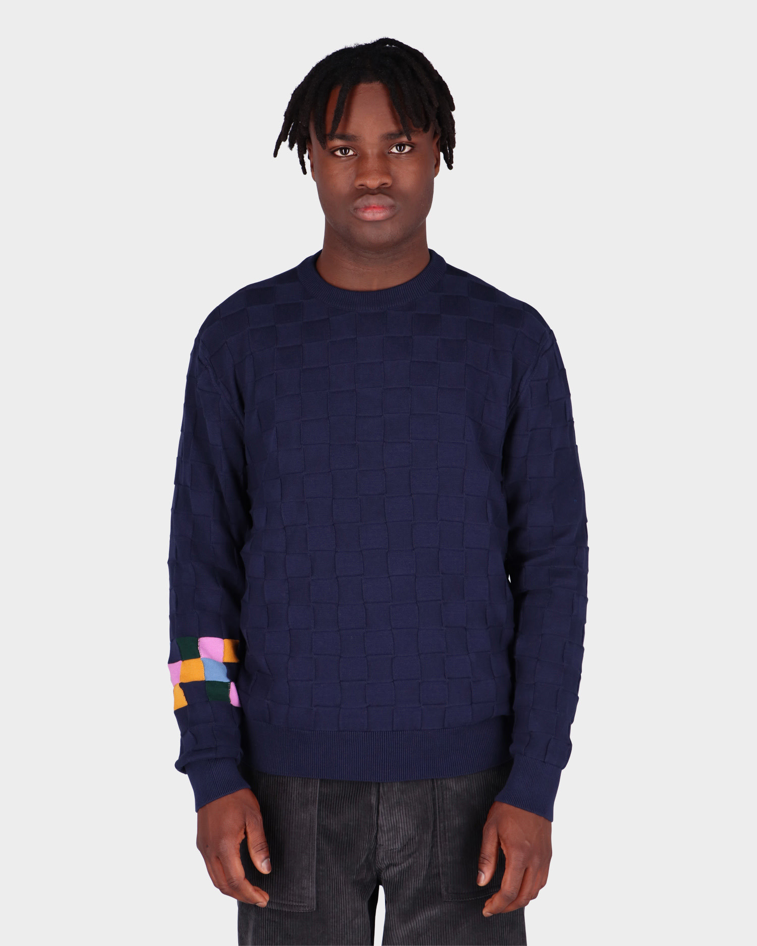 Pop Trading Co Checked Panel Knitted Crewneck Navy