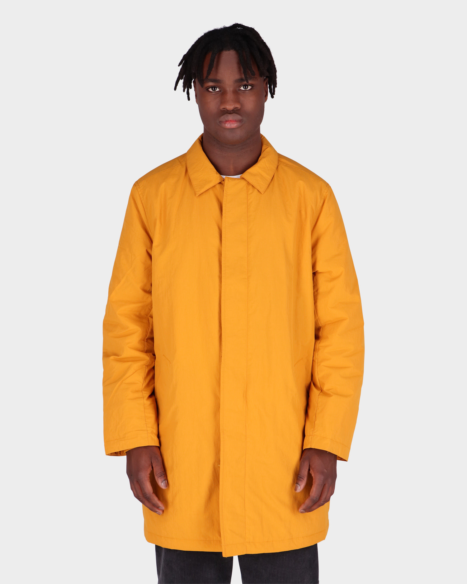 Pop Trading Co Padded Trench Coat Spruce Yellow