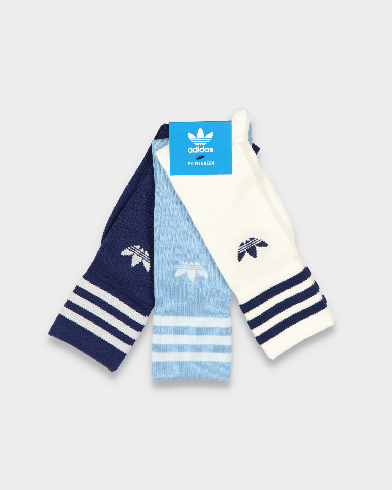Adidas Solid Crew Sock White/Light Blue/Navy