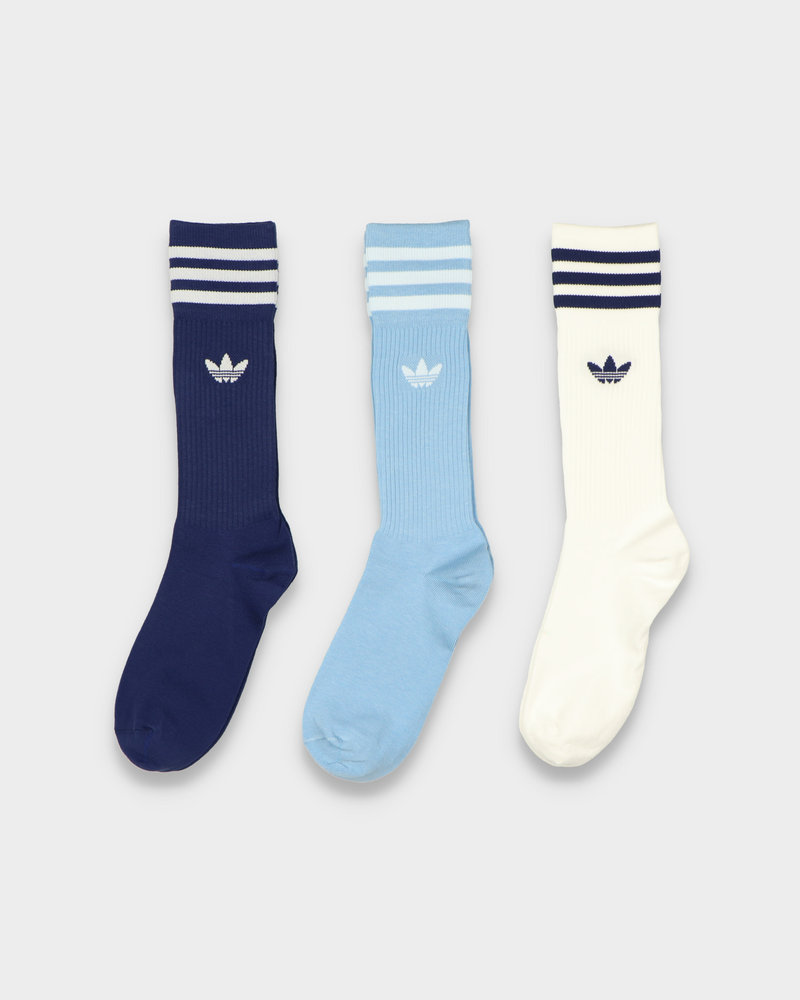 Adidas Adidas Solid Crew Sock White/Light Blue/Navy