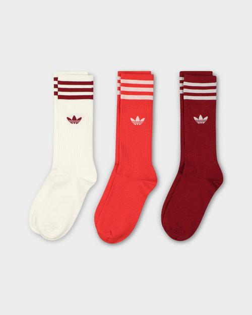 Adidas Adidas Solid Crew Sock White/CBurgu/Red