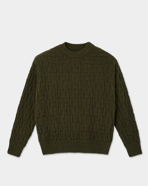 Polar Polar Square Knit Sweater Army Green Knitted