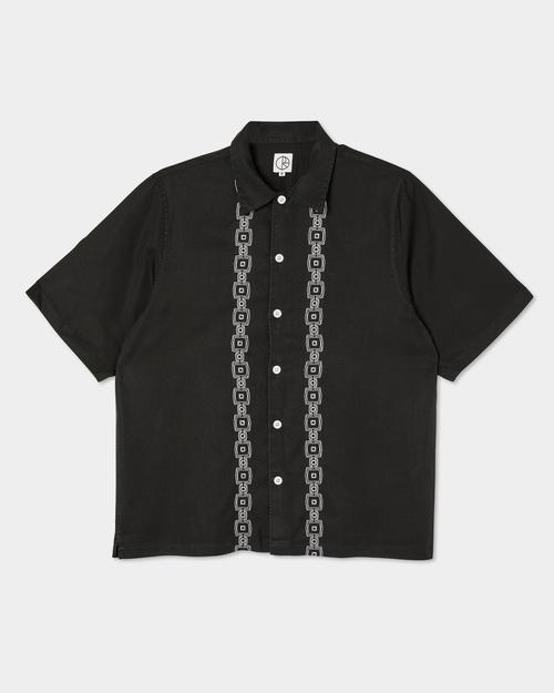 Polar Polar Square Stripe Bowling Shirt Black