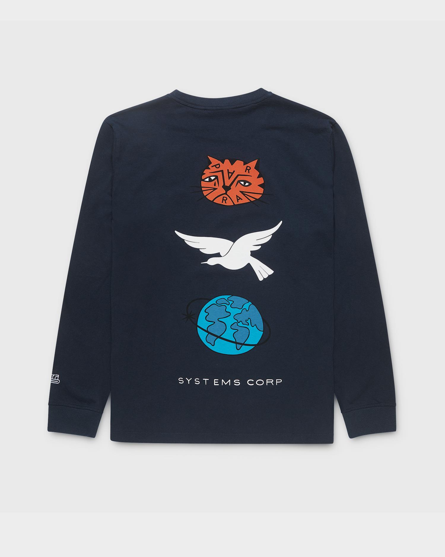 Parra Sad Cat System Bird L/S Tee Navy Blue