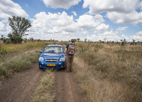 Stay with the car, or walk through a nature reserve in Africa?