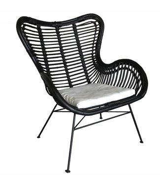 Sweet Living Zwarte Rotan Vlinderstoel - 70x76x90 cm