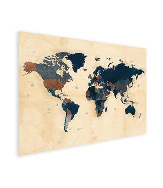 Sweet Living Canvas Wereldkaart Historisch - 90xH60 cm