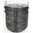 Sweet Living Bamboe Bloemenmand Blackwash - Ø45xH50 cm