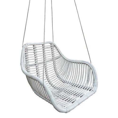 Sweet Living Rotan Hangstoel Fly Wit - 66x65xH49 cm