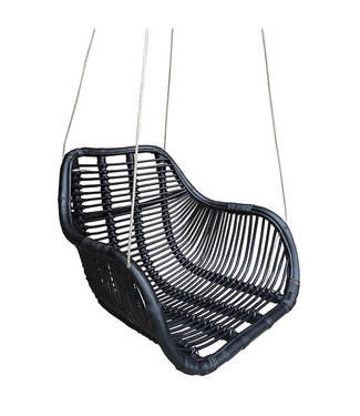 Sweet Living Rotan Hangstoel Fly Zwart - 66x65xH49 cm