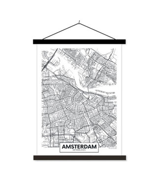 Sweet Living Schoolplaat City Map Amsterdam - 60xH90 cm