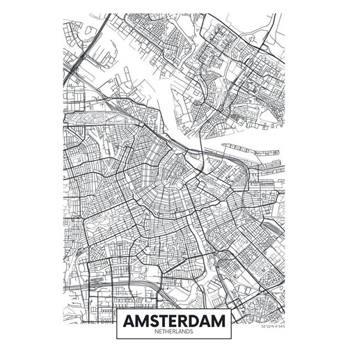 Sweet Living Canvas City Map Amsterdam - 60xH90 cm