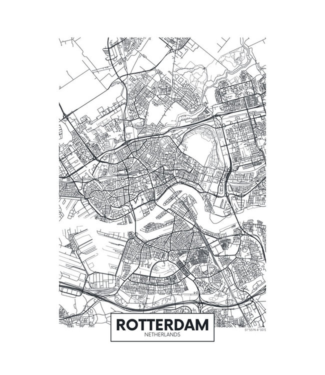 Sweet Living Canvas City Map Rotterdam - 60xH90 cm