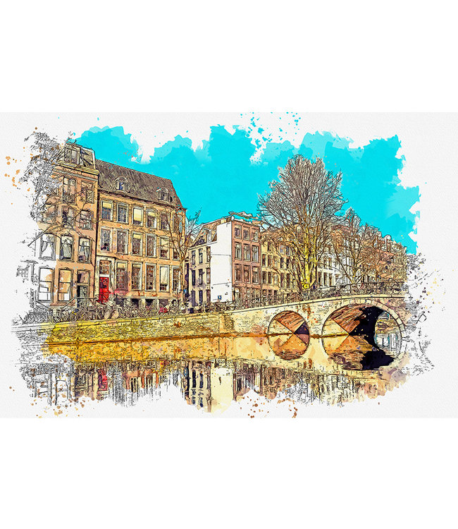 Sweet Living Canvas Schilderij Watercolor Canal
